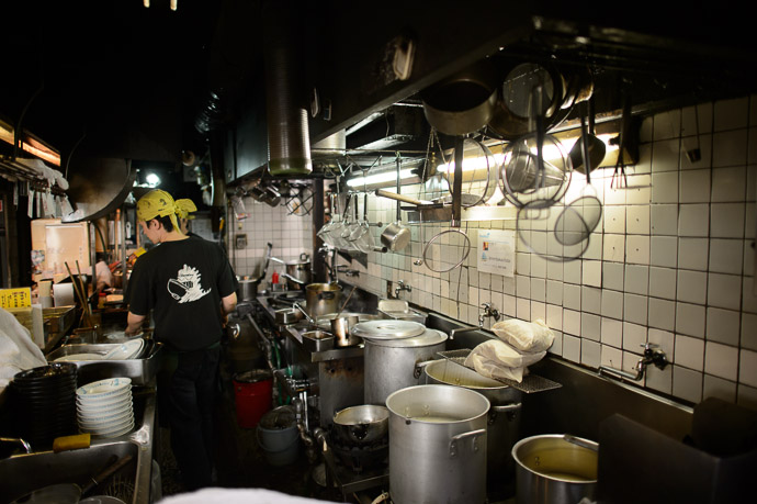 Typical Kitchen of a ramen-noodle joint -- Men-Baka Ramen Restaurant (めん馬鹿) -- Kyoto, Japan -- Copyright 2013 Jeffrey Friedl, http://regex.info/blog/ -- This photo is licensed to the public under the Creative Commons Attribution-NonCommercial 3.0 Unported License http://creativecommons.org/licenses/by-nc/3.0/ (non-commercial use is freely allowed if proper attribution is given, including a link back to this page on http://regex.info/ when used online)