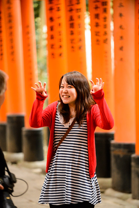 I Don't Even Remember what was going on, but like I said, it was silly times -- Fushimi Inari Shrine (伏見稲荷大社) -- Kyoto, Japan -- Copyright 2013 Jeffrey Friedl, http://regex.info/blog/