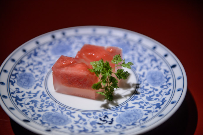 Light Dessert watermelon in gelatin -- Nagasaki, Japan -- Copyright 2013 Jeffrey Friedl, http://regex.info/blog/