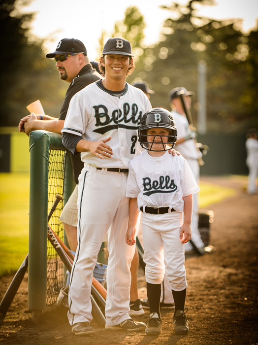 Pre-Game Photo Op with his favorite player, second baseman Ryan Yamane out of Colorado State -- Joe Martin Stadium -- Bellingham, Washington, USA -- Copyright 2013 Jeffrey Friedl, http://regex.info/blog/