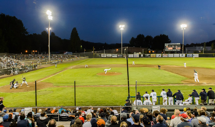 Groundout to First -- Joe Martin Stadium -- Bellingham, Washington, USA -- Copyright 2013 Jeffrey Friedl, http://regex.info/blog/