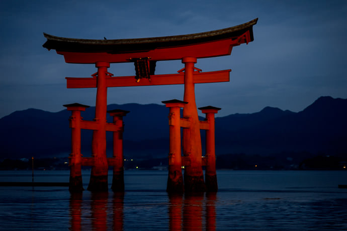 Dusky Dull -- Itsukushima Shrine (厳島神社) -- Miyajima, Hiroshima, Japan -- Copyright 2013 Jeffrey Friedl, http://regex.info/blog/ -- This photo is licensed to the public under the Creative Commons Attribution-NonCommercial 3.0 Unported License http://creativecommons.org/licenses/by-nc/3.0/ (non-commercial use is freely allowed if proper attribution is given, including a link back to this page on http://regex.info/ when used online)
