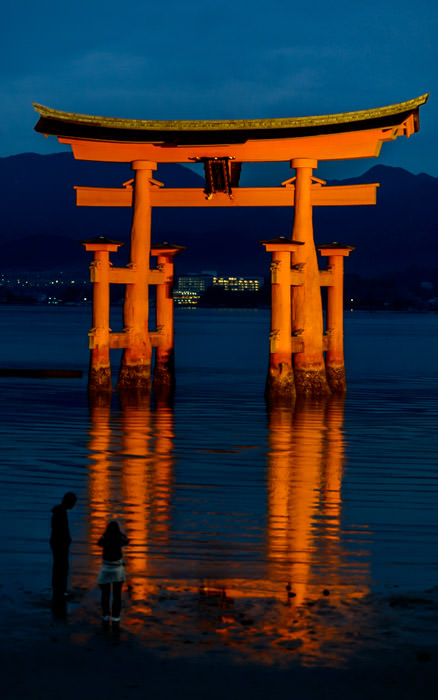 desktop background image of the main gate of the Itsukushima Shrine (厳島神社、宮島) on Miyashima Island, Japan, at dusk -- Nightfall -- Itsukushima Shrine (厳島神社) -- Miyajima, Hiroshima, Japan -- Copyright 2013 Jeffrey Friedl, http://regex.info/blog/ -- This photo is licensed to the public under the Creative Commons Attribution-NonCommercial 3.0 Unported License http://creativecommons.org/licenses/by-nc/3.0/ (non-commercial use is freely allowed if proper attribution is given, including a link back to this page on http://regex.info/ when used online)