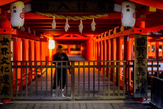 Closing for the Evening -- Itsukushima Shrine (厳島神社) -- Miyajima, Hiroshima, Japan -- Copyright 2013 Jeffrey Friedl, http://regex.info/blog/ -- This photo is licensed to the public under the Creative Commons Attribution-NonCommercial 3.0 Unported License http://creativecommons.org/licenses/by-nc/3.0/ (non-commercial use is freely allowed if proper attribution is given, including a link back to this page on http://regex.info/ when used online)