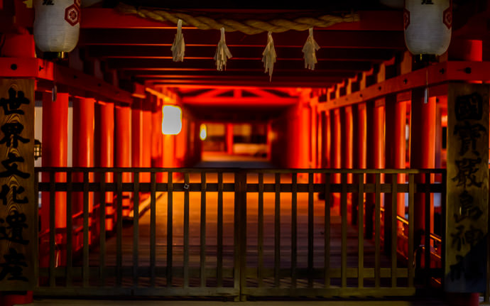 desktop background image of the Itsukushima Shrine (厳島神社) on Miyajima Island, Japan, closed for the evening -- Closed for the Evening -- Itsukushima Shrine (厳島神社) -- Miyajima, Hiroshima, Japan -- Copyright 2013 Jeffrey Friedl, http://regex.info/blog/ -- This photo is licensed to the public under the Creative Commons Attribution-NonCommercial 3.0 Unported License http://creativecommons.org/licenses/by-nc/3.0/ (non-commercial use is freely allowed if proper attribution is given, including a link back to this page on http://regex.info/ when used online)