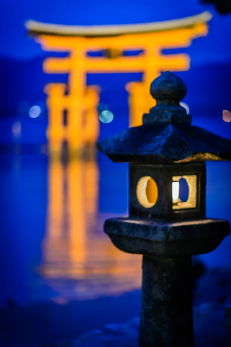 Feeling Blue -- Itsukushima Shrine (厳島神社) -- Miyajima, Hiroshima, Japan -- Copyright 2013 Jeffrey Friedl, http://regex.info/blog/ -- This photo is licensed to the public under the Creative Commons Attribution-NonCommercial 3.0 Unported License http://creativecommons.org/licenses/by-nc/3.0/ (non-commercial use is freely allowed if proper attribution is given, including a link back to this page on http://regex.info/ when used online)