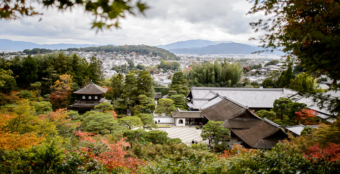 Wide View from Above -- Ginkakuji Temple (銀閣寺) -- Kyoto, Japan -- Copyright 2013 Jeffrey Friedl, http://regex.info/blog/