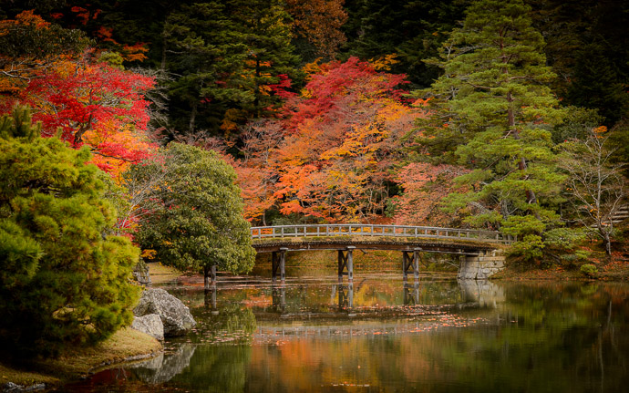 desktop background image of an autumn scene at the Shugakuin Imperial Villa (修学院離宮) in Kyoto Japan -- Simple Footbridge At the Shugakuin Imperial Villa in Kyoto Japan, last November 去年の秋の修学院離宮 -- Shugakuin Imperial Villa (修学院離宮) -- Copyright 2013 Jeffrey Friedl, http://regex.info/blog/ -- This photo is licensed to the public under the Creative Commons Attribution-NonCommercial 4.0 International License http://creativecommons.org/licenses/by-nc/4.0/ (non-commercial use is freely allowed if proper attribution is given, including a link back to this page on http://regex.info/ when used online)