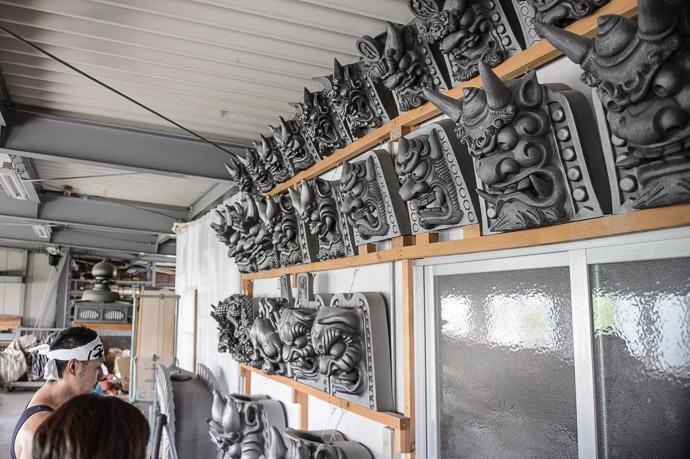 Wide Variety of Demon Tiles -- Minobe Onigawara Workshop (美濃邉鬼瓦工房) -- Otsu, Shiga, Japan -- Copyright 2014 Jeffrey Friedl, http://regex.info/blog/