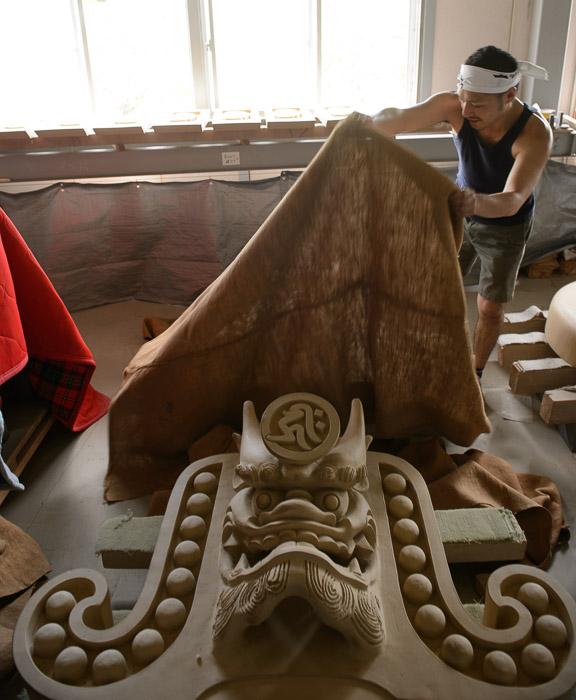 Massive Tile Awaiting the Kiln -- Minobe Onigawara Workshop (美濃邉鬼瓦工房) -- Otsu, Shiga, Japan -- Copyright 2014 Jeffrey Friedl, http://regex.info/blog/