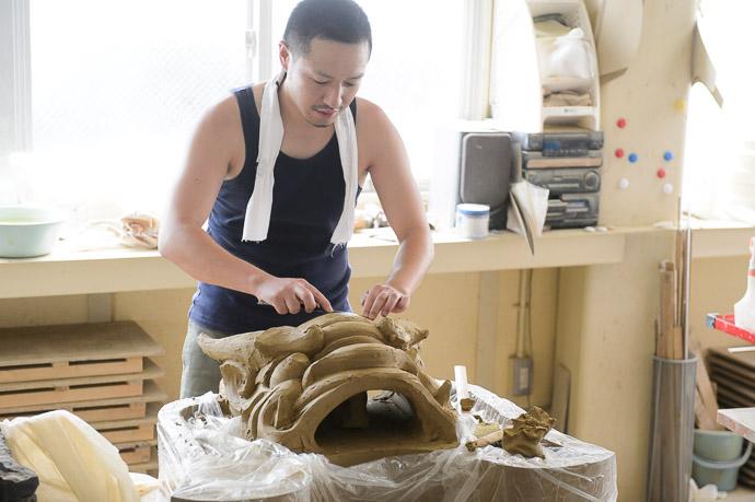 Minobe Onigawara Workshop (美濃邉鬼瓦工房) -- Otsu, Shiga, Japan -- Copyright 2014 Jeffrey Friedl, http://regex.info/blog/