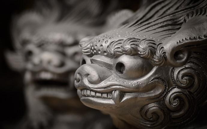 desktop background image of an ornamental temple-roof tile, at the Minobe Onigawara Workshop (美濃邉鬼瓦工房) in Otsu Japan -- Ornamental Temple Roof Tile in need of a roof at the Minobe Onigawara Workshop (美濃邉鬼瓦工房), Otsu Japan -- Minobe Onigawara Workshop (美濃邉鬼瓦工房) -- Otsu, Shiga, Japan -- Copyright 2014 Jeffrey Friedl, http://regex.info/blog/