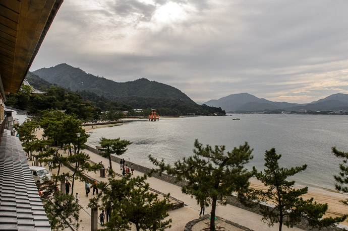View from Our Hotel Kinsuikan Hotel in Miyajima (宮島 の 錦水館) -- Kinsuikan Hotel (錦水館) -- Miyajima, Hiroshima, Japan -- Copyright 2014 Jeffrey Friedl, http://regex.info/blog/ -- This photo is licensed to the public under the Creative Commons Attribution-NonCommercial 4.0 International License http://creativecommons.org/licenses/by-nc/4.0/ (non-commercial use is freely allowed if proper attribution is given, including a link back to this page on http://regex.info/ when used online)