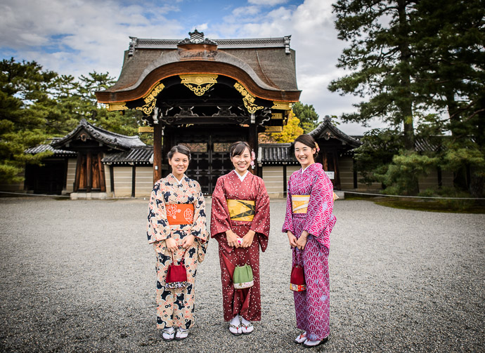 Lovely Day at the Kyoto Imperial Palace these young ladies were quite the attraction for photo ops -- Kyoto Imperial Palace (京都御所) -- Kyoto, Japan -- Copyright 2014 Jeffrey Friedl, http://regex.info/blog/