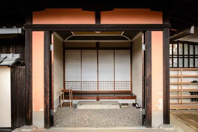 Sub Entrance on the left likely the one used by the family on a day -to-day basis -- Shodensanso Villa (松殿山荘) -- Uji, Kyoto, Japan -- Copyright 2014 Jeffrey Friedl, http://regex.info/blog/ -- This photo is licensed to the public under the Creative Commons Attribution-NonCommercial 4.0 International License http://creativecommons.org/licenses/by-nc/4.0/ (non-commercial use is freely allowed if proper attribution is given, including a link back to this page on http://regex.info/ when used online)