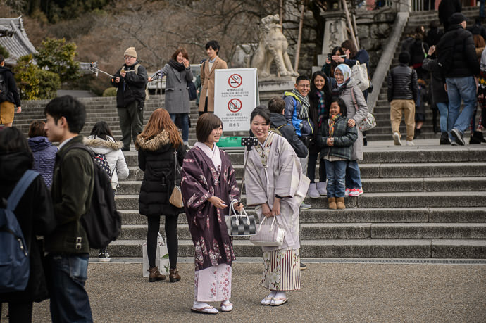 More Selfie Sticks at least three visible in this shot at the front steps of the Kiyomizu Temple -- Kyoto, Japan -- Copyright 2014 Jeffrey Friedl, http://regex.info/blog/