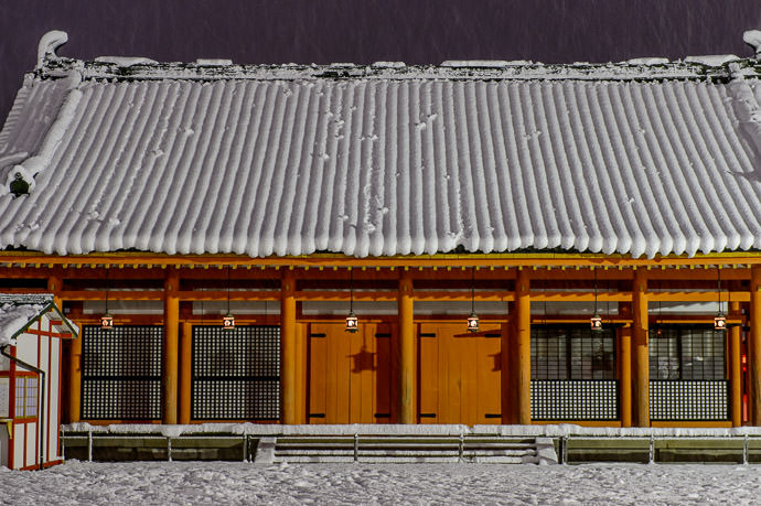 "Splats in Waiting on a side building The slumping snow on the roof made me think of "" When You Tempt Fate, Sometimes You Lose "" -- Heian Shrine (平安神宮) -- Kyoto, Japan -- Copyright 2015 Jeffrey Friedl, http://regex.info/blog/ -- This photo is licensed to the public under the Creative Commons Attribution-NonCommercial 4.0 International License http://creativecommons.org/licenses/by-nc/4.0/ (non-commercial use is freely allowed if proper attribution is given, including a link back to this page on http://regex.info/ when used online)"