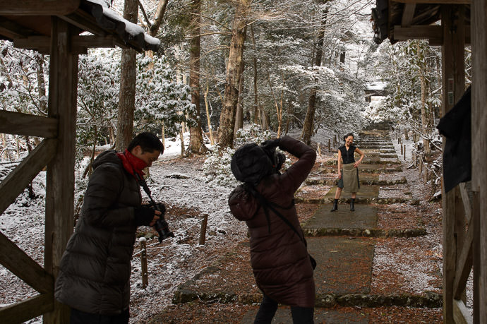 Three Photographers but only one crazy enough to take her jacket off and be the model. At the Joshokoji Temple (常照皇寺) in the mountains of far northern Kyoto -- Joshokoji Temple (常照皇寺) -- Kyoto , Kyoto, Japan -- Copyright 2015 Jeffrey Friedl, http://regex.info/blog/