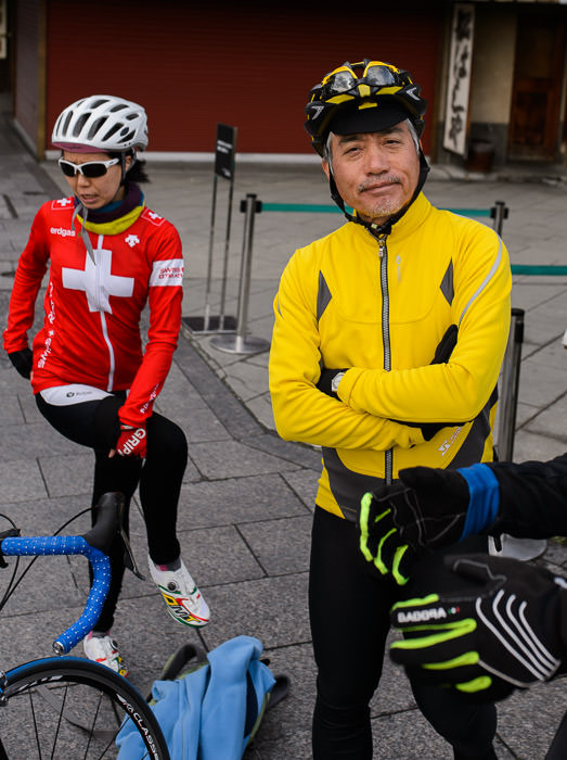 Kumiko Mini and Manseki Kanemitsu Manseki would be today's ride leader -- Sanjo-Street Bridge over the Kamo River (三条大橋) -- Kyoto, Japan -- Copyright 2015 Jeffrey Friedl, http://regex.info/blog/