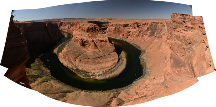 Panorama Made From 10 poorly-planned shots -- Horseshoe Bend -- Page, Arizona, United States -- Copyright 2015 Jeffrey Friedl, http://regex.info/blog/ -- This photo is licensed to the public under the Creative Commons Attribution-NonCommercial 4.0 International License http://creativecommons.org/licenses/by-nc/4.0/ (non-commercial use is freely allowed if proper attribution is given, including a link back to this page on http://regex.info/ when used online)