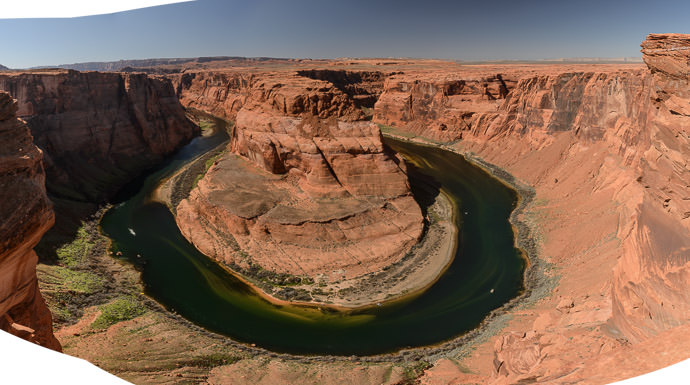 Was Worth a Try but next time I'll just bring a wide -angle lens -- Horseshoe Bend -- Page, Arizona, United States -- Copyright 2015 Jeffrey Friedl, http://regex.info/blog/ -- This photo is licensed to the public under the Creative Commons Attribution-NonCommercial 4.0 International License http://creativecommons.org/licenses/by-nc/4.0/ (non-commercial use is freely allowed if proper attribution is given, including a link back to this page on http://regex.info/ when used online)