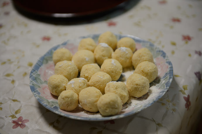 Raw Doughnut Holes ready for frying -- Takashima, Shiga, Japan -- Copyright 2015 Jeffrey Friedl, http://regex.info/blog/