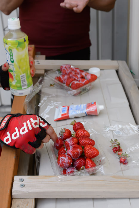 Energy Snack strawberries with condensed milk -- Otsu, Shiga, Japan -- Copyright 2015 Jeffrey Friedl, http://regex.info/blog/
