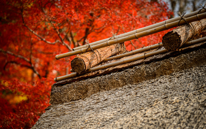 desktop background image of a thached roof at the Eigenji Temple (永源寺) in Shiga Japan -- Roof Detail -- Eigenji Temple (永源寺) -- Higashiomi, Shiga, Japan -- Copyright 2016 Jeffrey Friedl, http://regex.info/blog/ -- This photo is licensed to the public under the Creative Commons Attribution-NonCommercial 4.0 International License http://creativecommons.org/licenses/by-nc/4.0/ (non-commercial use is freely allowed if proper attribution is given, including a link back to this page on http://regex.info/ when used online)