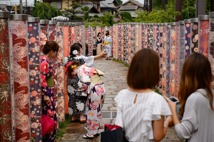 """ Kimono Forest "" Randen Arashiyama Station -- Kyoto, Japan -- Copyright 2017 Jeffrey Friedl, http://regex.info/blog/"