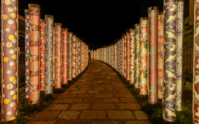 desktop background image of the Kyoto, Arashiyama Kimono Forest art instillation -- Arashiyama Station -- Kyoto, Japan -- Copyright 2017 Jeffrey Friedl, http://regex.info/blog/ -- This photo is licensed to the public under the Creative Commons Attribution-NonCommercial 4.0 International License http://creativecommons.org/licenses/by-nc/4.0/ (non-commercial use is freely allowed if proper attribution is given, including a link back to this page on http://regex.info/ when used online)
