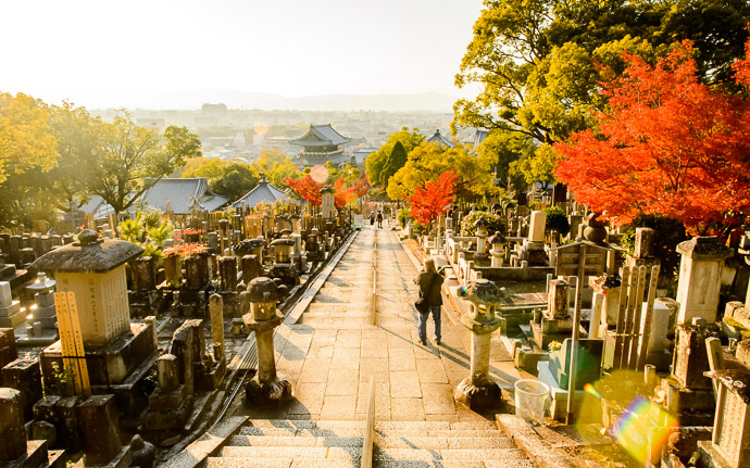 desktop background image of a cemetary at the Konkaikomyou-ji Temple (金戒光明寺), Kyoto Japan, during the height of fall colors -- Lovely Day Konkaikomyou-ji Temple (金戒光明寺) Kyoto Japan -- Konkaikomyou-ji Temple (金戒光明寺) -- Copyright 2017 Jeffrey Friedl, http://regex.info/blog/