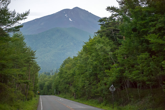 "Our Last View of the Mountain at least, our last non-close-up view, on the drive up toward the "" 5th Station "" -- Mt. Fuji (富士山) -- Fujiyoshida, Yamanashi, Japan -- Copyright 2018 Jeffrey Friedl, http://regex.info/blog/"