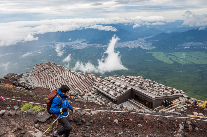 "Passing By One of the "" 7th Station "" Huts -- Mt. Fuji (富士山) -- Fujiyoshida, Yamanashi, Japan -- Copyright 2018 Jeffrey Friedl, http://regex.info/blog/"
