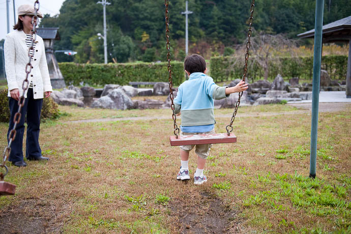 First Ever Jump off a Moving Swing  --  Small park in the Shiga countryside  --  Otsu, Shiga, Japan  --  Copyright 2008 Jeffrey Friedl, http://regex.info/blog/
