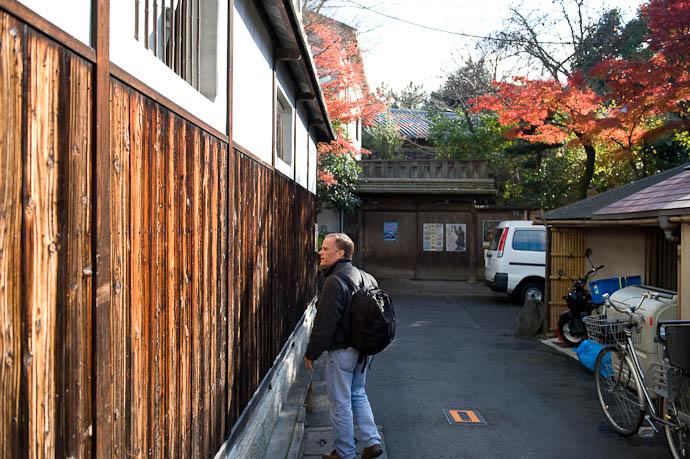 Checking Out the Weird Wood on the western wall of murin'an -- Murin'an -- Kyoto, Japan -- Copyright 2008 Jeffrey Friedl, http://regex.info/blog/