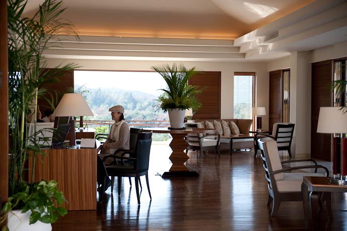 Reception / Lobby desks and chairs; no counters -- Atta Terrace Hotel -- Onna, Okinawa, Japan -- Copyright 2009 Jeffrey Friedl, http://regex.info/blog/