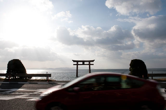 Main Gate of the Shirohige Shrine Takashima City, Shiga, Japan as seen from the shrine entrance -- Takashima, Shiga, Japan -- Copyright 2009 Jeffrey Friedl, http://regex.info/blog/