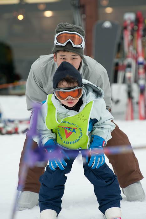 Kindergarten Olympic Slalom Time Trials ready to hit the gates -- Hakodateyama Ski -- Takashima, Shiga, Japan -- Copyright 2009 Jeffrey Friedl, http://regex.info/blog/
