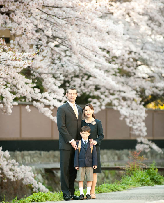 Family Portrait on the day Anthony starts first grade Photo by Fumie's Mom -- Kyoto, Japan -- Copyright 2009 Eiko Matsunaka, http://regex.info/blog/