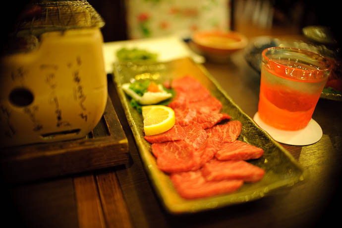 Raw Beef to be cooked over the hot coals -- Ishigaki, Okinawa, Japan -- Copyright 2009 Jeffrey Friedl, http://regex.info/blog/