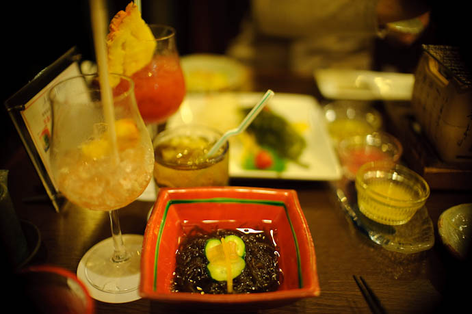 mozuku one of the many side dishes -- Ishigaki, Okinawa, Japan -- Copyright 2009 Jeffrey Friedl, http://regex.info/blog/
