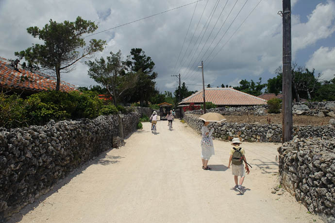 Coral-Lined Lanes pedestrians, bikes, and watter buffalo -- Taketomi Island, Okinawa, Japan -- Copyright 2009 Jeffrey Friedl, http://regex.info/blog/