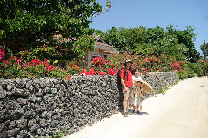 Pretty Village Street on tiny Taketomi Island, near Ishigaki Island, in the far south of Japan ( after I got rid of most of the utility wires in post ) -- Taketomi Island, Okinawa Prefecture, Japan -- Copyright 2009 Jeffrey Friedl, http://regex.info/blog/