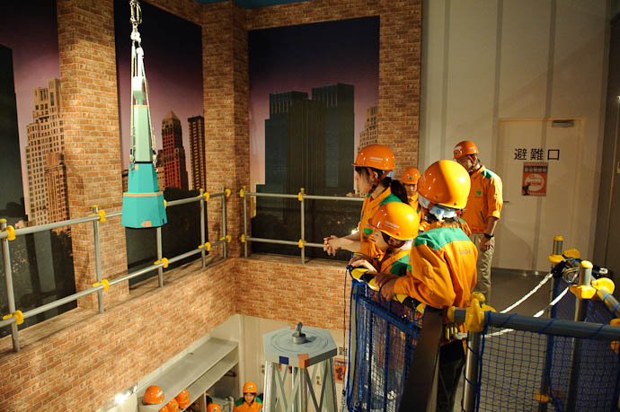 Hoisting Up the Tower Tip -- KidZania Koshien -- Kyoto, Japan -- Copyright 2009 Jeffrey Friedl, http://regex.info/blog/