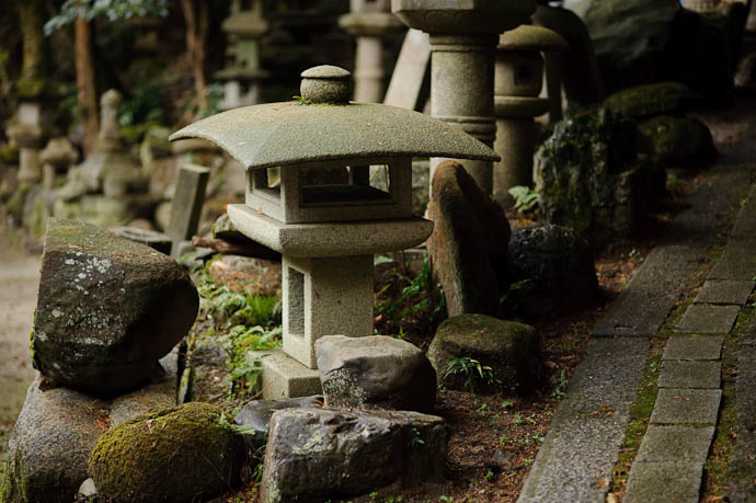Looks So Cute but it's actually quite large -- Nishimura Stone Lantern workworkshopshop and garden -- Kyoto, Japan -- Copyright 2009 Jeffrey Friedl, http://regex.info/blog/
