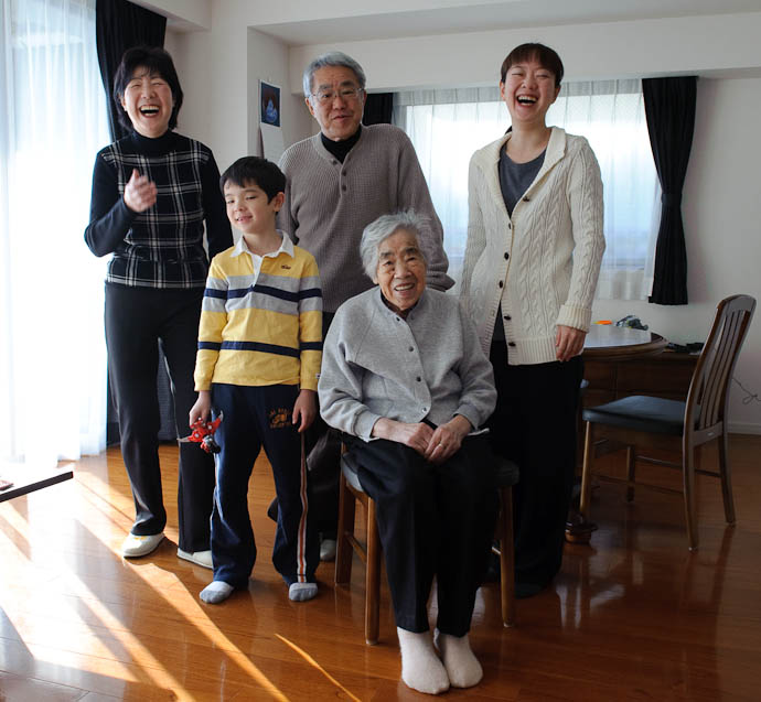 Four Generations 95-year-old Misao with her son (and his wife), granddaughter, and great grandson -- Kyoto, Japan -- Copyright 2010 Jeffrey Friedl, http://regex.info/blog/