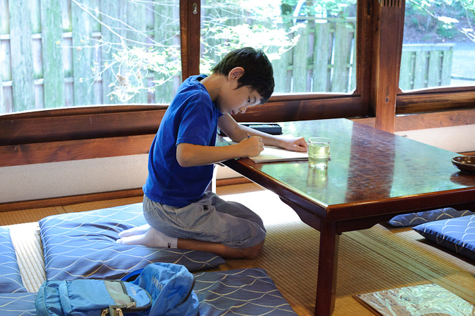 Passing the Time authoring comic strips -- Jakkouin Temple -- Kyoto, Japan -- Copyright 2010 Jeffrey Friedl, http://regex.info/blog/