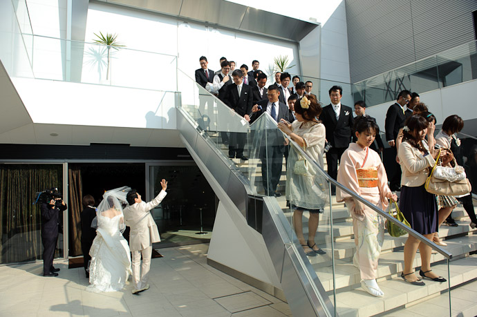 Shogo Waves to His Buddies -- Wedding of Shogo and Namiko -- Nagoya, Aichi, Japan -- Copyright 2010 Jeffrey Friedl, http://regex.info/blog/