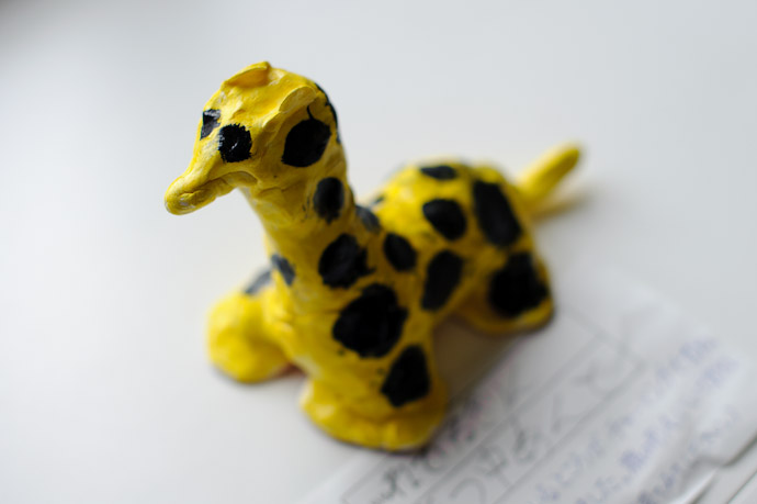 Sleeping Giraffe Anthony 2nd-Grade Art Project -- Kyoto, Japan -- Copyright 2010 Jeffrey Friedl, http://regex.info/blog/