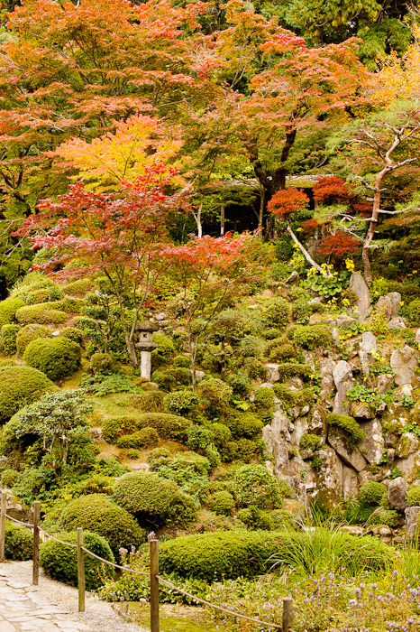 Vertical View of the far end of the garden -- Kongourinji Temple (金剛輪寺) -- Aisho, Shiga, Japan -- Copyright 2010 Jeffrey Friedl, http://regex.info/blog/